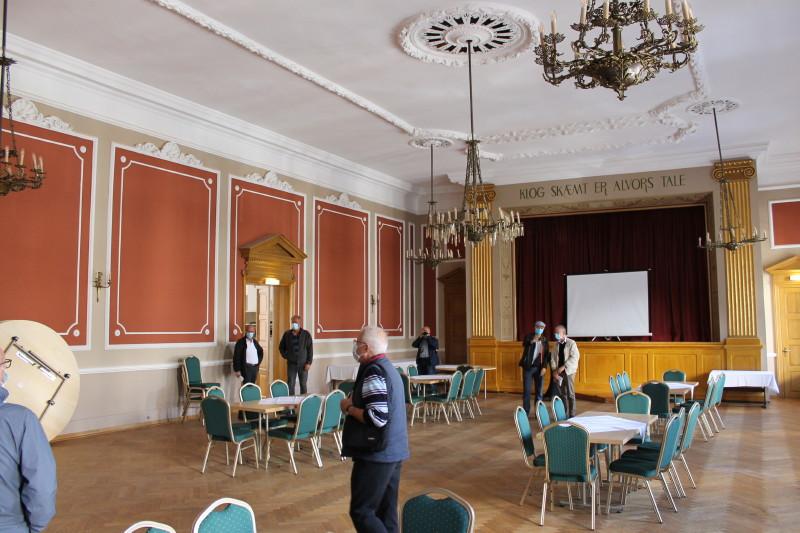 """På Restaurant Borgerforeningen så vi også """"Kongesalen"""" der bl.a. anvendes af Dronning Margrethe, idet det er den flotteste festsal i Grænselandet. Foto: Lars Ersgaard."""