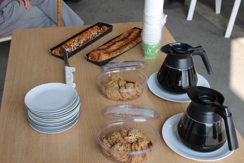 Her fik vi kaffe og kage.
